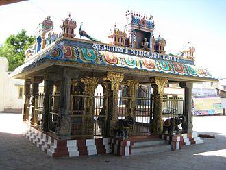Kumarakottam Temple - Mantapam (Hall) in the Kumarakottam Temple complex where the epic Kandha Purānam was released