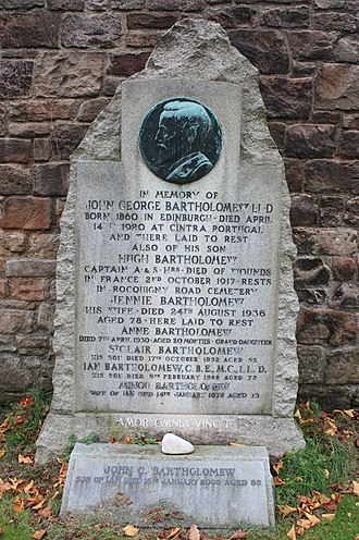 John George Bartholomew - The memorial to J G Bartholomew, Dean Cemetery