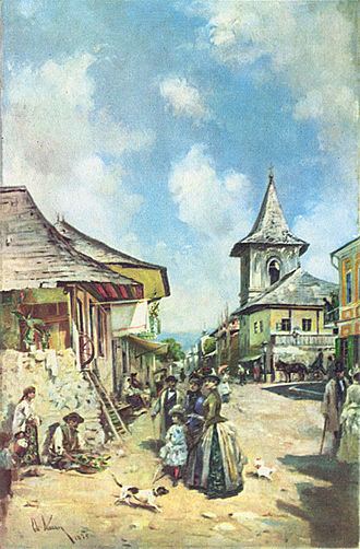 Câmpulung - A  Câmpulung street in 1890, by Theodor Aman.