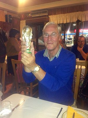 Mícheál Ó Sé - Image: This photo its taken of Mícheál while on holiday in Portugal holding a replica of the World Cup