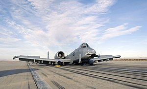 Belly landing - An A-10 after a belly landing at Edwards Air Force Base (2008)
