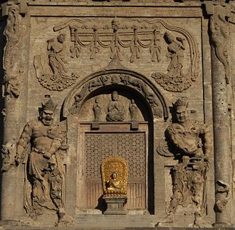 Tianning Temple (Beijing) - Relief sculpture on pagoda's southern facade.