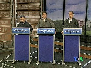 Tenzin Tethong - Tenzin Namgyal Tethong, Lobsang Sangay, and Tashi Wangdi – face off in Washington for an internationally televised debate, March 1, 2011