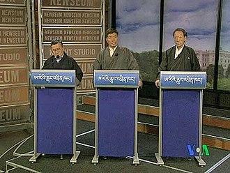 Tenzin Tethong - Tenzin Namgyal Tethong, Lobsang Sangay, and Tashi Wangdi (left to right)– face off in Washington, D.C. for an internationally televised  election debate for the Prime Minister or Kalon Tripa, March 1, 2011