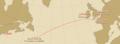 Titanic voyage map Arabic antique-look.png