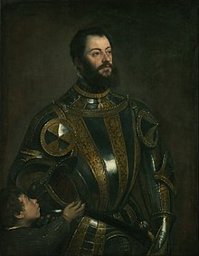 Titian (Tiziano Vecellio) (Italian) - Portrait of Alfonso d'Avalos, Marquis of Vasto, in Armor with a Page - Google Art Project.jpg