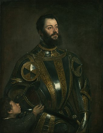 Portrait of Alfonso d'Avalos, Marchese del Vasto, in Armor with a Page (oil on canvas by Titian, c. 1533) Titian (Tiziano Vecellio) (Italian) - Portrait of Alfonso d'Avalos, Marquis of Vasto, in Armor with a Page - Google Art Project.jpg