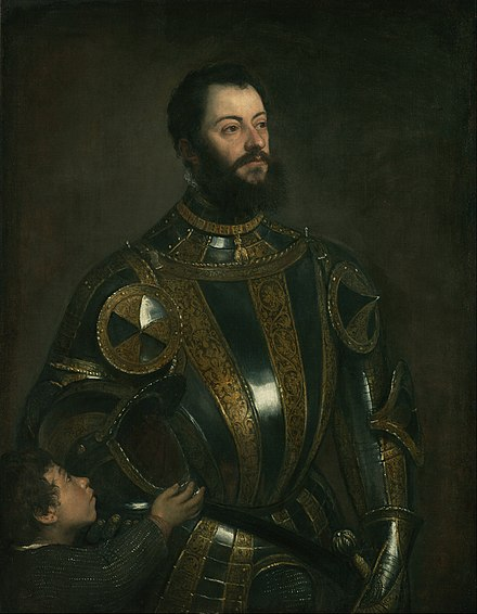 Portrait of Alfonso d'Avalos and a page by Titian, c. 1533. Titian (Tiziano Vecellio) (Italian - Portrait of Alfonso d'Avalos, Marquis of Vasto, in Armor with a Page - Google Art Project.jpg