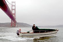 Tolman Standard Skiff under Golden Gate Bridge , California