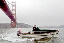 Tolman Standard Skiff under Golden Gate Bridge , California
