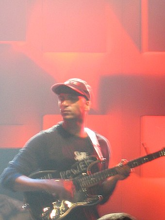 Morello with Audioslave at the Montreux Jazz Festival in 2005. Tom Morello Montreux Jazz Festival 2005.jpg