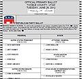 Tooele County, Utah 2012 Republican Primary ballot.jpg