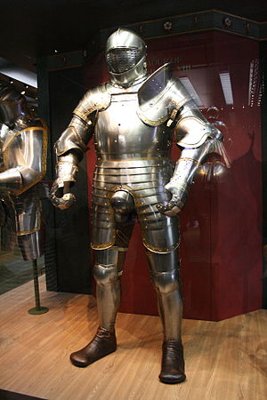 White Tower (Tower of London) - The Royal Armoury still has displays in the White Tower. This suit of armour belonged to HenryVIII.