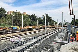 Track laying of Beijing-Zhangjiakou HSR at Jingtusi (20190613170550).jpg