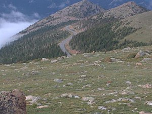 U.S. Route 34 in Colorado - View of US 34 in Rocky Mountain National Park, at an altitude above 11,000 feet