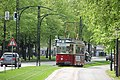 Tram on the newly rebuilt section of tracks to Salztor.jpg