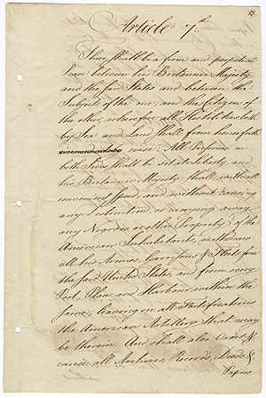 """Alexander Hamilton and slavery - Article 7 of the Treaty of Paris, which says that """"his Brittanic Majesty"""" shall withdraw without """"carrying away any Negroes or other property of the American inhabitants""""."""