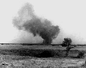 Jewish resistance in German-occupied Europe - Smoke rising from Treblinka extermination camp during the prisoner uprising of August 1943