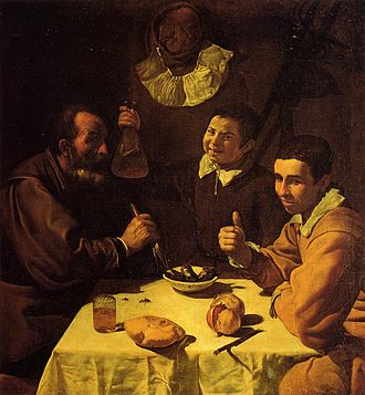 Mediterranean cuisine - Mediterranean cuisine with the staples of bread, wine, food in olive oil, and fruit: Three Men at a Table (1618), by Diego Velázquez