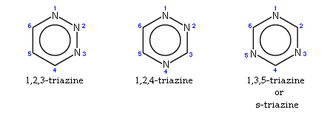 Triazine - The three isomers of triazine, with ring numbering