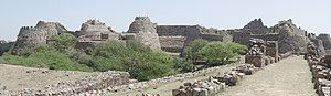 Tughlaqabad Fort - Panoramic view os the massive bastions of Tughlaqabad Fort