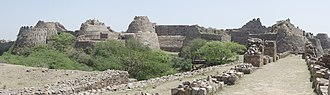 Tughlaqabad Fort - Panoramic view of the massive bastions of Tughlaqabad Fort