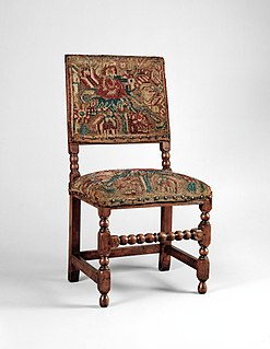 Turkeywork knotted-pile textile popular for furnishings in 17th century England