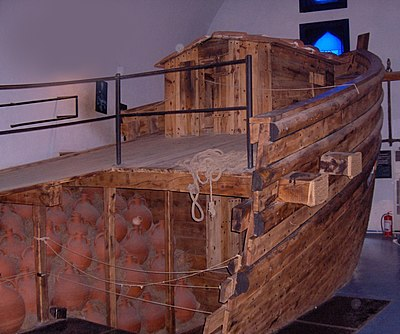 The Yassiada reconstruction in Bodrum's Museum of Underwater Archaeology, loaded with replica Byzantine amphorae