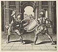 Two gladiators fighting in front of an arch MET DP824474.jpg