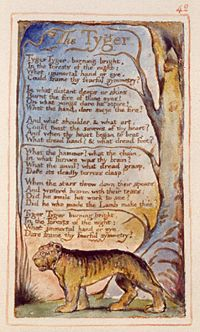 "William Blake's ""The Tyger,"" published in his Songs of Innocence and of Experience is a work of Romanticism"