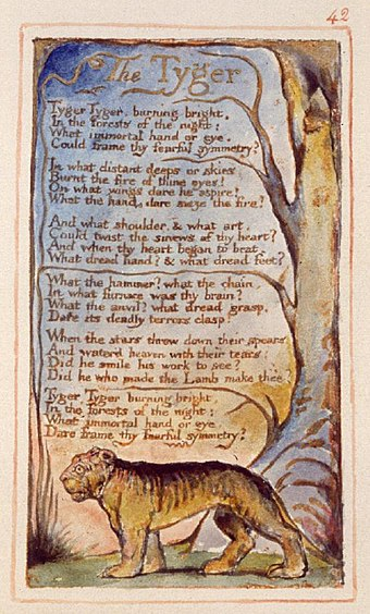 "William Blake's ""The Tyger"", published in his Songs of Innocence and of Experience, is a work of Romanticism"