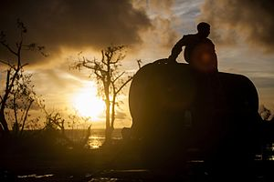 Combat Logistics Battalion 31 - Image: U.S. Marines aid Saipan with typhoon relief efforts 150819 M CX588 093