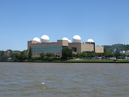 This building on NRL's main campus features prominent radomes on its roof U.S. Naval Research Laboratory 2019d.jpg