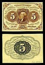 Five-cent first-issue fractional note