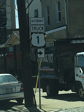 Special routes of U.S. Route 1 - US 1 Alternate Truck in Philadelphia