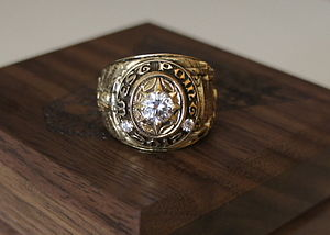 """United States Military Academy class ring - A USMA class ring, class of 2012, """"Never Forget""""."""