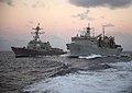 USNS Arctic (T-AOE-8) replenishes USS Farragut (DDG-99) in the Atlantic Ocean on 24 February 2018 (180224-N-IC246-0334).JPG