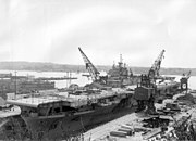 USS Essex (CV-9) during her SCB-27A modernization at the Puget Sound Naval Shipyard in April 1949