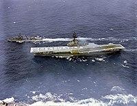 USS Kearsarge (CVS-33) crew spells out 'Mercury 9' on the flight deck on 15 May 1963 (GPN-2000-001403).jpg