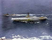 USS Kearsarge (CVS-33) crew spells out 'Mercury 9' on the flight deck on 15 May 1963 (GPN-2000-001403).jpg