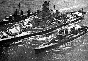 USS Massachusetts (BB-59) - Massachusetts refuels two ''Fletcher''-class destroyers, 1944