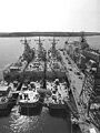 USS Samuel Eliot Morison (FFG-13), USS Gallery (FFG-26) and USS Stephen W. Groves (FFG-29) at Bath Iron Works on 11 May 1981.jpg