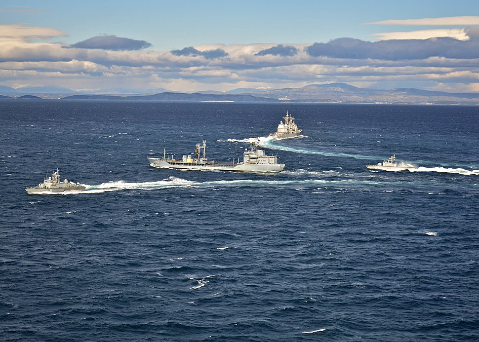 USS Vicksburg (CG-69) with German oiler Spessart (A1442) and Croatian missile boats in the Adriatic Sea 2015