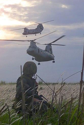 Boeing Vertol CH-46 Sea Knight - A U.S. Marine watches two CH-46 Sea Knights, 2002