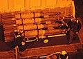 US Navy 030330-N-6410T-502 Aviation Ordnancemen move bombs from a flight deck elevator to Carrier Air Wing Eight (CVW-8) aircraft aboard the aircraft carrier USS Theodore Roosevelt (CVN 71).jpg