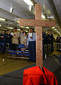US Navy 030418-N-4953E-012 Sailors and Marines participate in a Good Friday Protestant Service in the Forecastle of USS Harry S. Truman (CVN 75).jpg