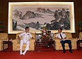 US Navy 060627-N-9860Y-019 Shanghai Naval Base Commander, Rear Adm. Wang Deding, seated right, meets with the Commanding Officer of the U.S. Navy's amphibious command ship USS Blue Ridge (LCC 19), Capt. Jeff Bartkoski.jpg