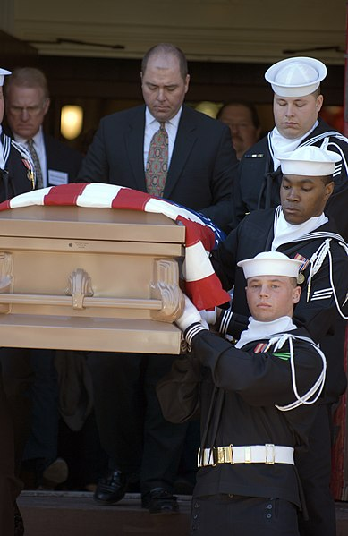 File:US Navy 070330-N-5319A-002 Navy Ceremonial Guard carries the casket of Charlotte Louise Berry Winters the last known female veteran and former Navy Yeoman of World War I out from All Saint's Episcopal Church.jpg