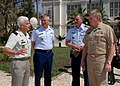 US Navy 070518-N-6544L-001 Commander, U.S. Sixth Fleet Vice Adm. John Stufflebeem and Commander, U.S. Coast Guard Atlantic Area Vice Adm. D. Brian Peterman discuss country roles and the benefits of partnering on regional initia.jpg
