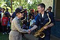 US Navy 080828-N-5086M-082 Rear Adm. Christine S. Hunter greets Musician 3rd Class Luke Cox.jpg